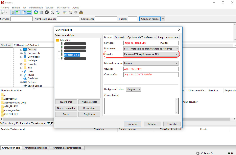Subir ficheros vía FTPS | SurDataNet - Hosting Servidores